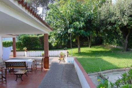 Blick in den Garten und auf die überdachte Terrasse